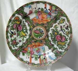 Antique Chinese Hand Painted Enamel Porcelain Plate Rose Medallion Scenic 9 5 8