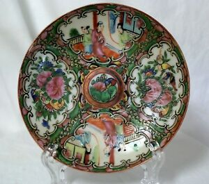 Antique Chinese Hand Painted Enamel Plate Porcelain Rose Medallion Scenic 5 3 8