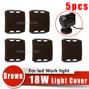 5pcs Snap On Brown Lens Cover For 4inch 18w Led Work Light Bar Lamp Off Road 4wd