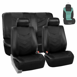 Leather Solid Black Seat Covers For Auto Car Sedan Suv Van W Air F
