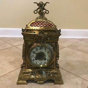Antique French Cherub Figural Mantle Clock W Marti Medaille De Bronze Movement