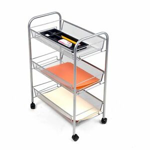Mind Reader roll Rolling Metal Mesh 3 Shelf Cart Black