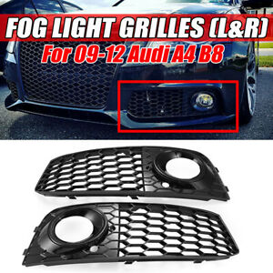 2x Honeycomb Front Fog Light Cover Airflow Mesh Grille Rs4 Style For Audi A4 B8
