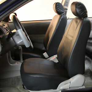 Pu Leather Bucket Seat Covers W 2 Headrests Black