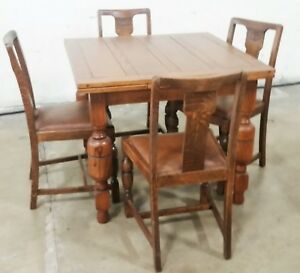 Vintage English Solid Oak Refractory Draw Leaf Table 2 Leaves 4 Chairs La Area