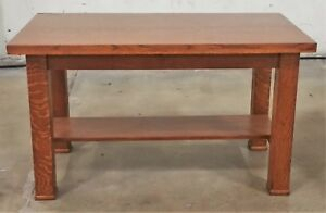 Antique Vtg American Tiger Oak Mission Arts Craft Console Library Table Desk