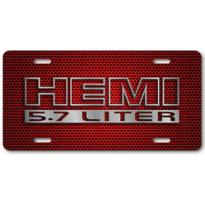 Hemi 5 7 Cherry Red Vanity License Plate Jeep Dodge Challenger Charger R T Bump