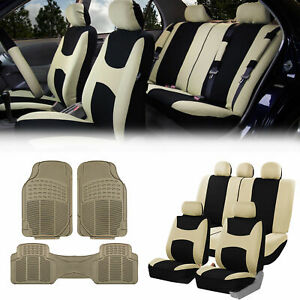 Beige Black Car Seat Covers Full Set For Auto W 5 Headrests Rubber Floor Mats