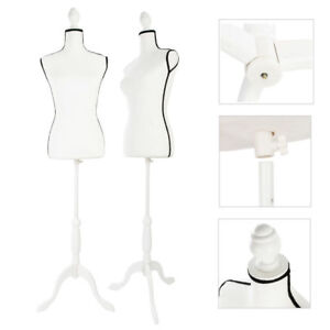 White Female Woman Torso Body Mannequin Dress Clothing Display Tripod Stand New