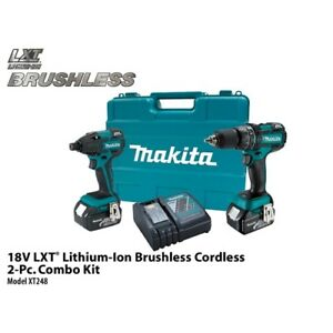 Makita Xt248 18v Lxt Li ion Brushless Cordless 2 piece Combo Kit