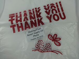 Thank You T shirt Bags 11 5 X 6 25 X 21 Clear Plastic Retail Shopping