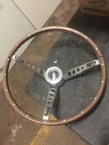 1965 1966 Mustang Wood Grain Steering Wheel Deluxe Pony Interior Original