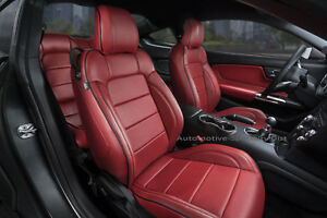 Katzkin Cardinal Red Leather Repla Seat Covers Fits 2015 2019 Ford Mustang V6 gt