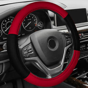 Steering Wheel Cover Belt Pads Accessories Set For Auto Car Suv Van Red Black