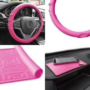 Pink Silicone Steering Wheel Cover With Pink Dash Mat For Auto Car Suv