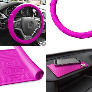 Hot Pink Silicone Steering Wheel Cover With Dash Mat For Auto Car Suv
