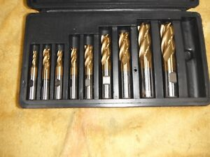 3 16 11 16 Coat Hss High Speed Tool Steel 9pc Set 4 Flute End Mill Cutter