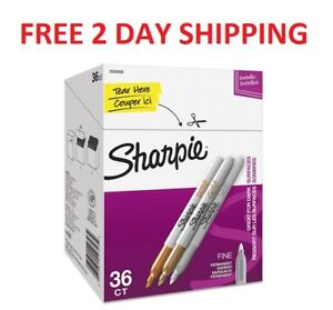 Sharpie Metallic Permanent Markers Office Pack Fine Gold silver bronze 36 pk