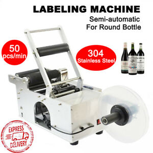 Mt 50 Semi automatic Round Bottle Labeling Machine Labeler Printer Electric 120w