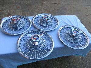 1964 1965 66 1967 Galaxie Falcon Mustang Fairlane 14 Wire Hubcaps Set 4 Tall