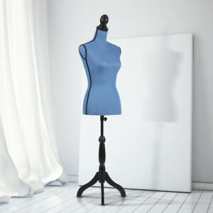 Adjustable Female Mannequin Torso Dress Form With Wood Tripod Stand Blue K1z3