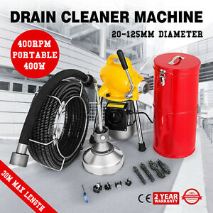 100ft 3 4 Sewer Snake Drain Auger Cleaner Machine Sewer Toilet 400rpm Brand New