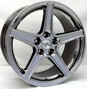 18 Black Chrome Mustang Saleen Replica Wheels 18x9 18x10 5x114 3 Rims 94 04