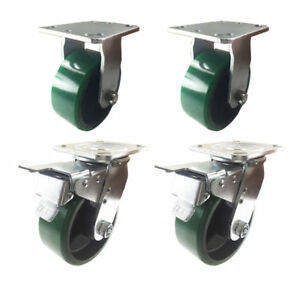 4 Caster 4 5 6 8 Polyurethane On Cast Iron Rigid Total Lock Brake green