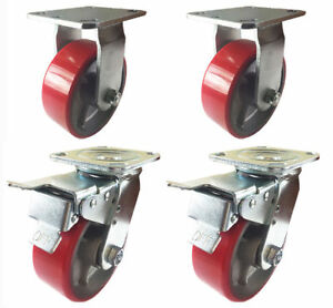 4 Caster 4 5 6 8 Polyurethane On Cast Iron Rigid Total Lock Brake red