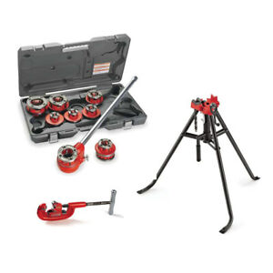 Ridgid 36475 12 r Threader Set Bundle W 16703 Tristand And 32820 Pipe Cutter