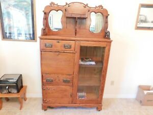 Antique Awesome Oak Side By Side Desk Bookcase