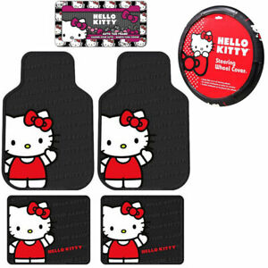 Sanrio Hello Kitty Core Car Truck Floor Mats Steering Wheel Cover Keychain Set