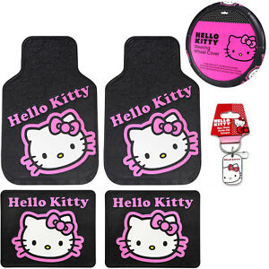 Sanrio Hello Kitty Collage Car Truck Floor Mats Steering Wheel Cover