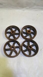 Vintage Cast Iron Industrial Factory Cart Wheels Matching Set Of 4 5 Inch Pulley