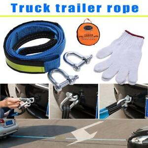 3 Metres Car Tow Strap Tow Rope Cable Trailer Towing Strap 8tons W Safty Hooks
