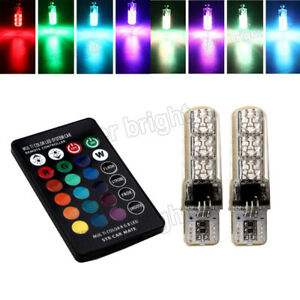 20sets T10 W5w 5050 6 Led Silica Car Lights Rgb With Remote Control 194 Strobe