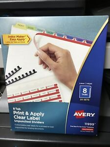 Avery Print Apply Clear Label Unpunched Dividers 8 tab 25 Sets 11999