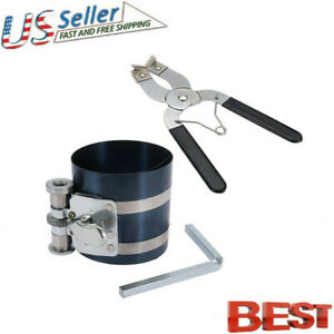 2pcs Ratchet Style Piston Ring Compressor And Piston Ring Installer Pliers Tool