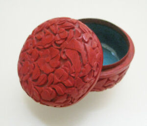 Antique Chinese Floral Carved Cinnabar Lacquer Blue Enamel Small Trinket Box