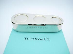 Vintage Tiffany Co Makers Sterling Silver Triple Coin Holder Box