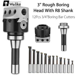 3 Rough Boring Head R8 Shank 12pcs 3 4 boring Bar Cutters For Milling Machine