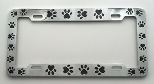 Animal Dog Cat Paw Prints Chrome With Black Paws Metal License Plate Frame