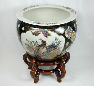 Vintage Chinese Porcelain Gold Fish Bowl Pot Planter Jardeniere With Wood Stand