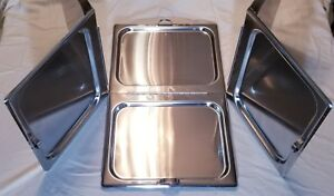 3 Full size Steam Table Pan Cover Hinged Flat Hotel Chafing Dish Folding Lid