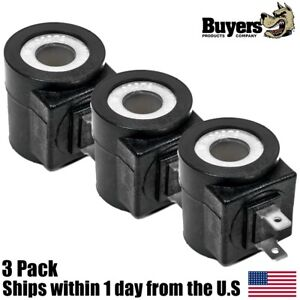 3pk Snow Plow Valve Coil W 2 Spade Terminals For Fisher 7639 Western 49230
