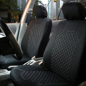 Car Seat Covers Diamond Stitching Universal Front Bucket Cover Pair 2 Colors