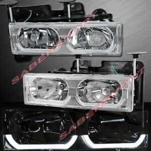 Set Of Euro Clear Headlights W Led Bar For 1988 1999 Gmc Chevy C k Full Size