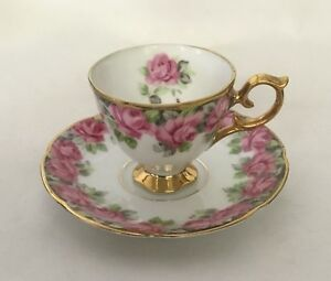 Royal Sealy China Pink Rose Border Rsy2 Cup And Saucer Gold Trim Japan 1200