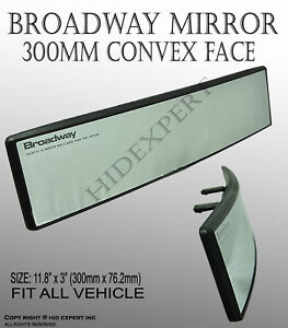 Broadway 300mm Wide Convex Interior Clear Rear View Universal Fit Mirror J635