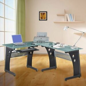 Loft style Tempered Glass L shaped Computer Desk